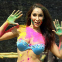 Mumbai: Actress Sofia Hayat during a Holi photo shoot in Mumbai on March 3, 2015. (Photo: IANS)