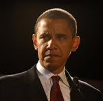 President Barack Obama looking angry and spiteful