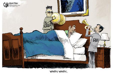 wakey wakey, Mr. President. It's Iran and North Korea.