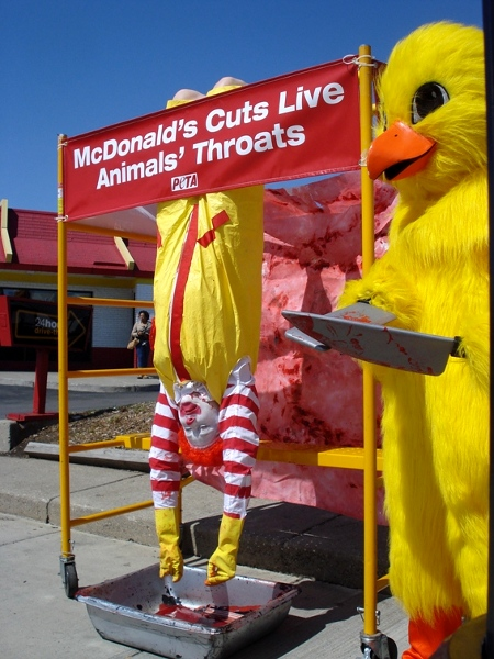 PETA vermin in chicken suits bleeds out murdered Ronald McDonald