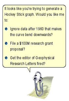Clippy from Microsoft Office offers to help the Warmists at the CRU defraud humanity