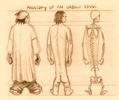 Anatomical sketch of the Urban Thug detailing gross muscular development and underlying skeletal structures