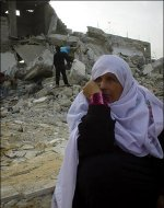 Palestinian Arab Woman Outside her Demolished Home