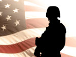 Silhouette of Soldier in Front of US Flag
