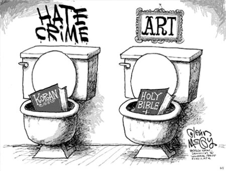 Art vs. Hate Crime - Oikophobia, Islamic Terrorism, and Christophobia combined in Evil