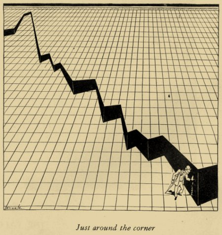 Alfred Frueh�s 'Around The Corner' - The New Yorker - January 16, 1932 - Commenting on President Hoover�s statement that prosperity is just around the corner
