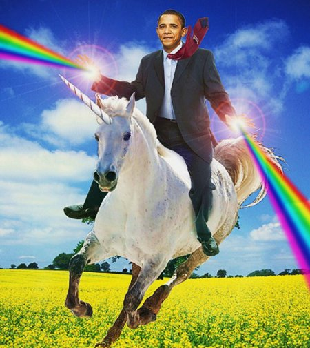 Obama On A Unicorn Shooting Rainbows
