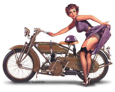 Old School Harley Davidson Pin-Up