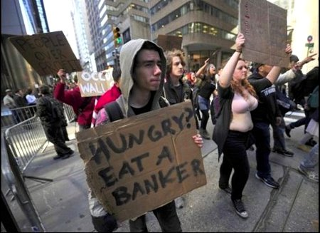Hungry? Eat A Banker - Liberal Zombies Occupying Wall St.