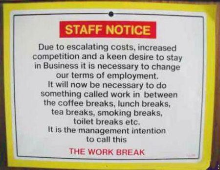 Work Break Policy Notice