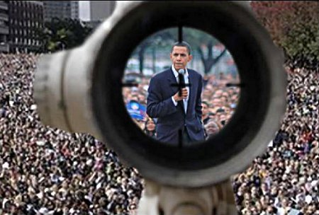 Obama seen through a sniper's scope.