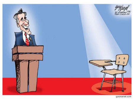 Romney-Obama Debate - Man vs. Empty School Desk