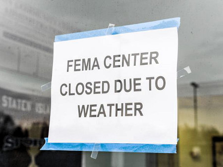 Fema Irony - NYC FEMA Station closed due to weather