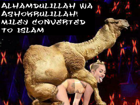 Miley's giving thanks and praise - and her holes - to Allah