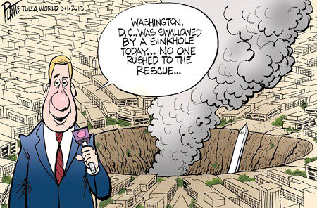 Washington DC destroyed by sinkhole - and not a single tear was shed by the American people