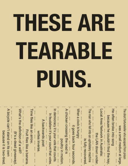 These are some tearable puns