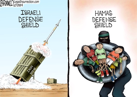Israeli and Palestinian defense shields
