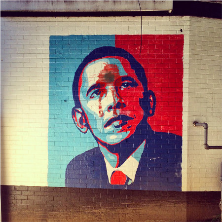 Obama Headshot Graffiti