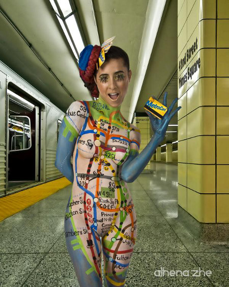 Subway Map Bodypainting