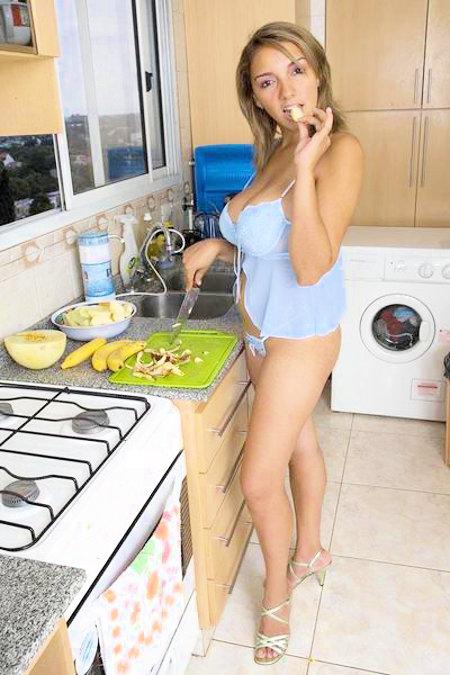 Paola Rios making fruit salad