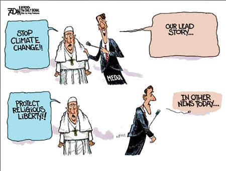 The MSM had specific agendas when covering the Pope's congressional address
