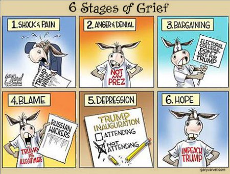 The 6 Stages Of Grief as expressed by Democrats
