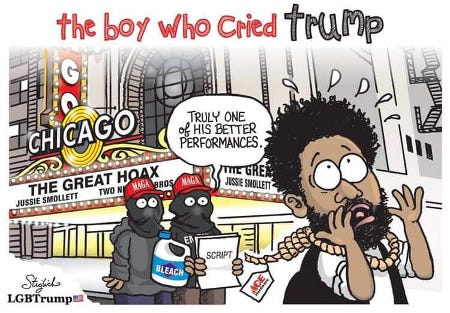 Jussie Smollett - The Boy Who Cried Trump - Just another angry fringe dweller grifting.